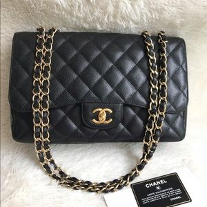 Chanel CF Jumbo Black Caviar GHW Single Flap